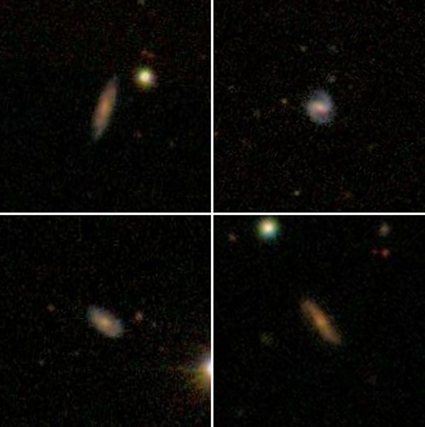 Images of four distant galaxies