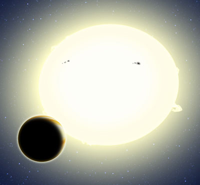 This artist's conception portrays the first planet discovered by the Kepler spacecraft during its K2 mission