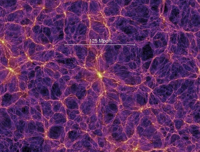 Galaxies are distributed along a cosmic web in the universe