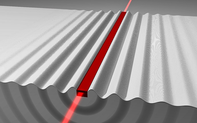 This illustration shows the emission of phonons from a nanometer scale waveguide