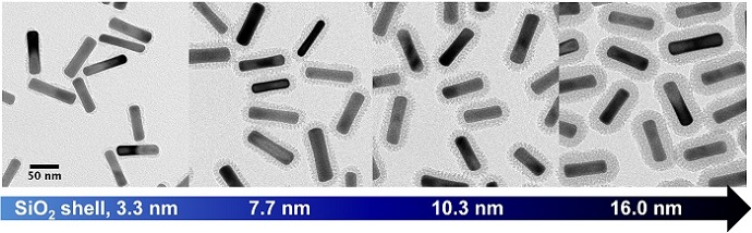 Gold nanorods with silica shells of varying thicknesses