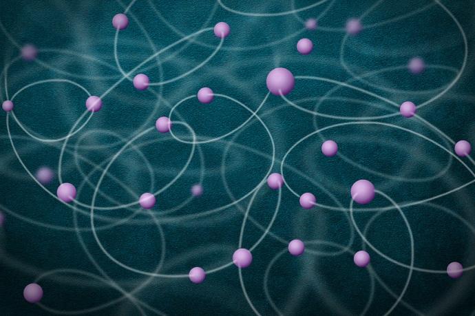 This image illustrates the entanglement of a large number of atoms