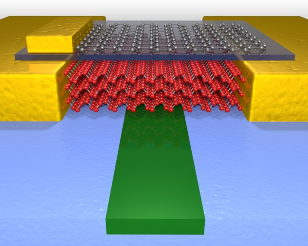 This illustration shows the high performance photodetector which uses few layer black phosphorus to sense light in the waveguide