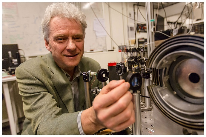 Professor Eugene Polzik in the quantum optics laboratory