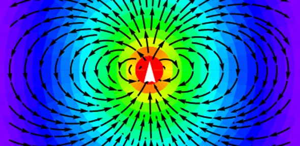 The radiation pattern from a dipole antenna showing symmetry breaking of the electric field