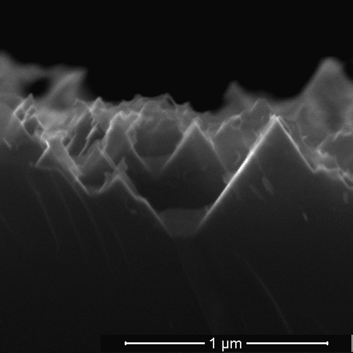 An electron microscope image from earlier research shows the nanoscale spikes that make up the surface of black silicon used in solar cell