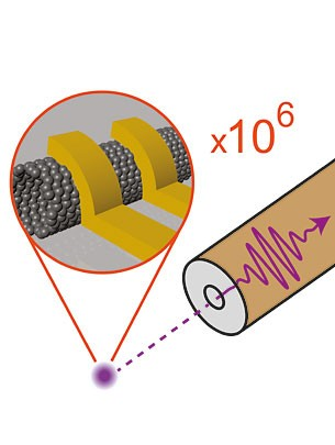 The clever arrangement of two electrical conductors around the carbon nanotube leads to an efficient signal transmission between the carbon nanotube and a much larger conductor for electromagnetic waves