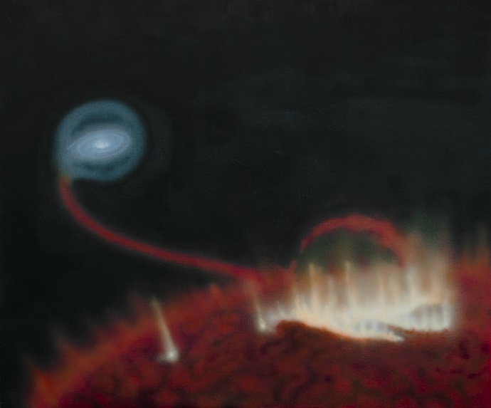 Artist impression of a giant flare on the surface of red giant Mira A