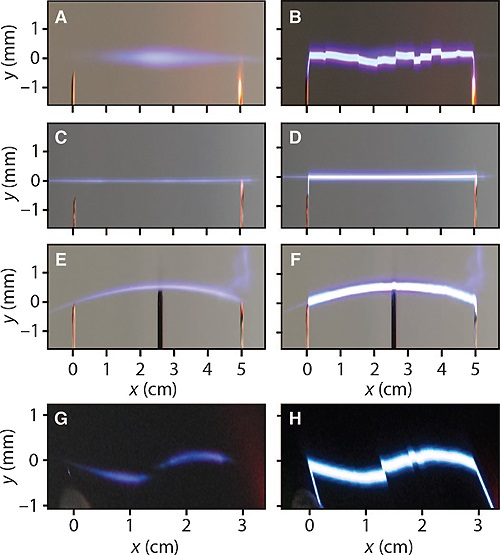 Shaped laser plasmas and electric discharges
