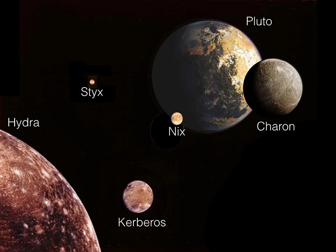 This illustration depicts Pluto and its five moons from a perspective looking away from the sun