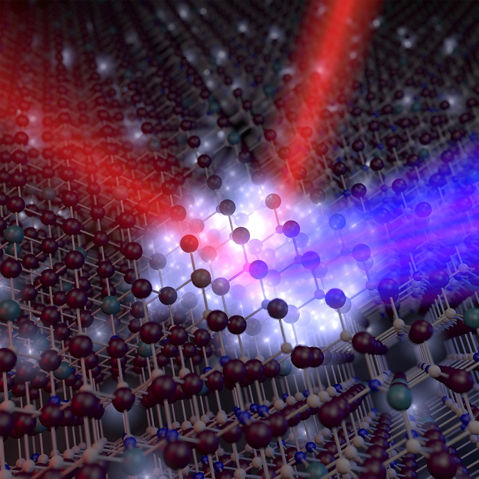 This rendering depicts a new plasmonic oxide material that could make possible devices for optical communications that are at least 10 times faster than conventional technologies