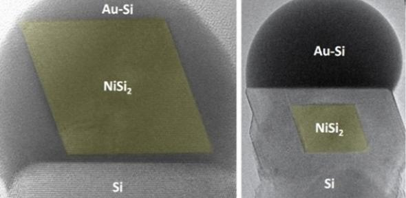 Images recorded in the electron microscope showing the formation of a nickel silicide nanoparticle in a silicon nanowire