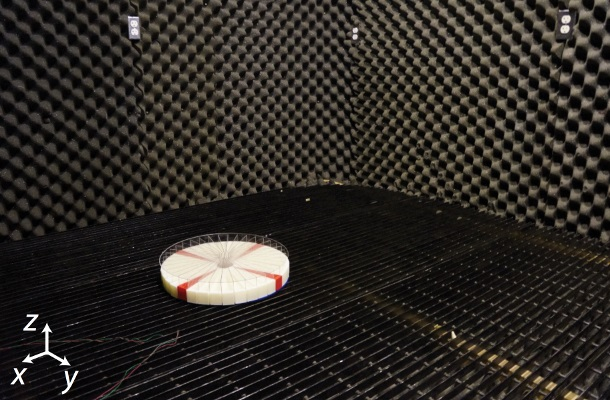 The prototype sensor is tested in a sound-dampening room to eliminate echoes and unwanted background noise