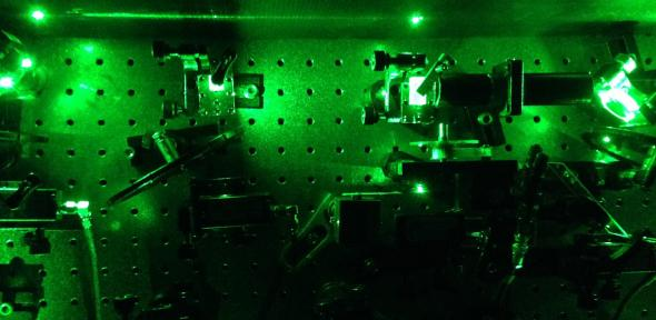 An image from an experiment in the quantum optics laboratory in Cambridge