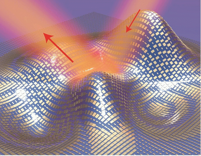 A 3D illustration of a metasurface skin cloak made from an ultrathin layer of nanoantennas covering an arbitrarily shaped object