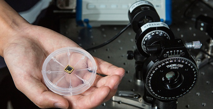 The chip in the hand does the same job as the conventional circularly polarized light detector on the right