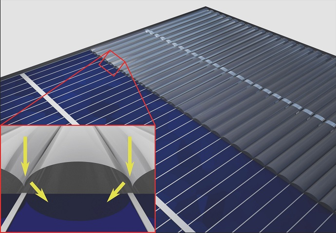 A special invisibility cloak guides sunlight past the contacts for current removal to the active surface area of the solar cell