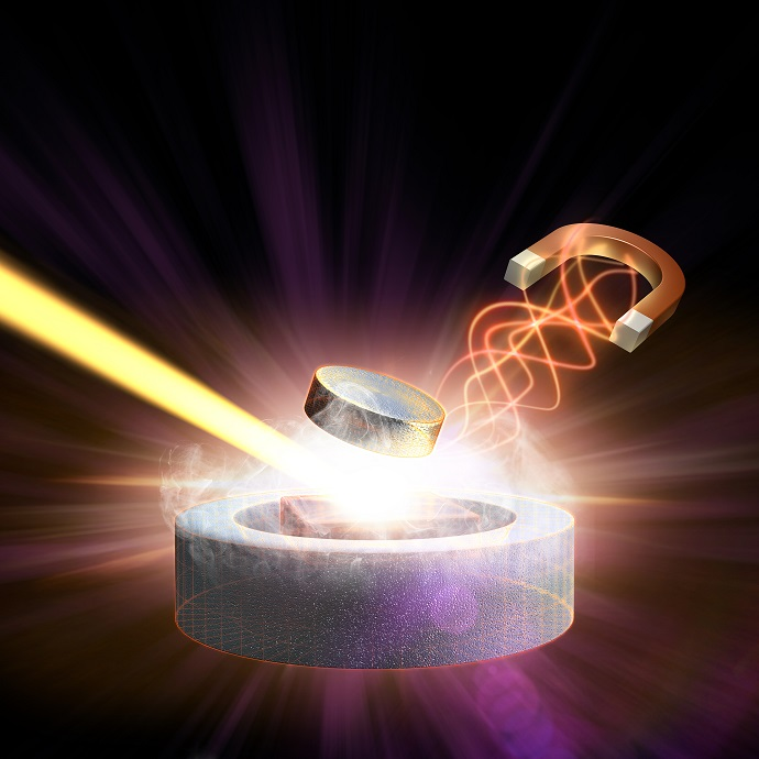 a magnetic pulse and X-ray laser light converge on a high-temperature superconductor to study the behavior of its electrons