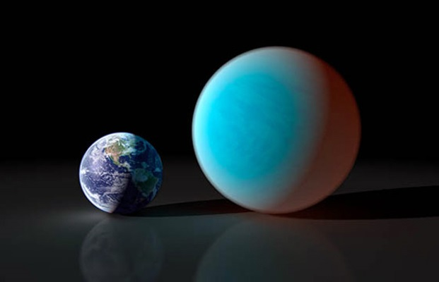 Size comparison between Earth and the exoplanet GJ1214b
