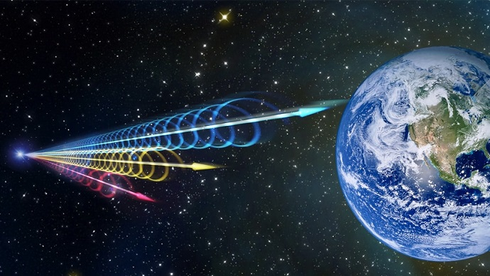 Artist impression of a Fast Radio Burst reaching Earth