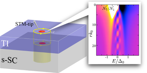 Schematic of Majorana particles localized inside the core of quantum vortex of a topological superconductor