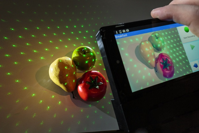NutriRay3D combines laser mapping technology with a smartphone app to estimate the calories and other nutritional content on a plate of food
