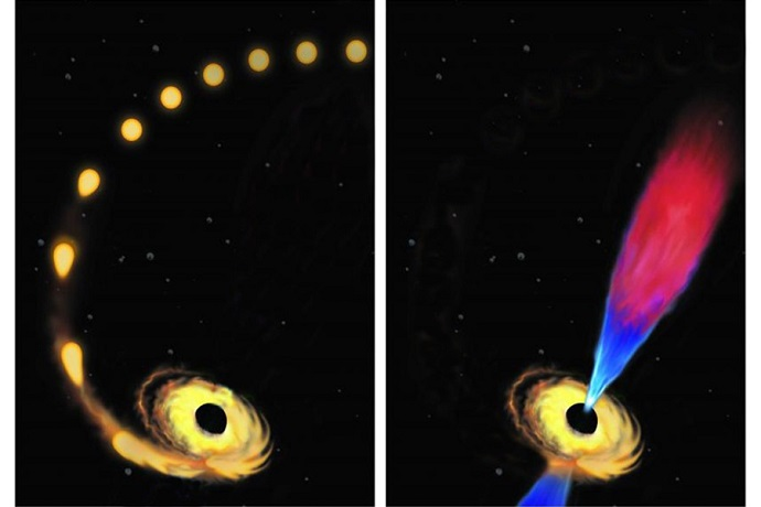 "Artist's conception of a star being drawn toward a black hole and destroyed (left), and the black hole later emitting a ""jet"" of plasma composed of the debris left from the star's destruction"