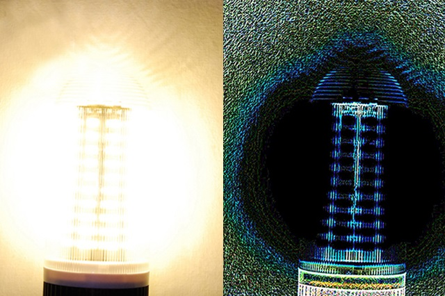 An LED light and an image of the same light produced using the Phase Stretch Transform-based algorithm
