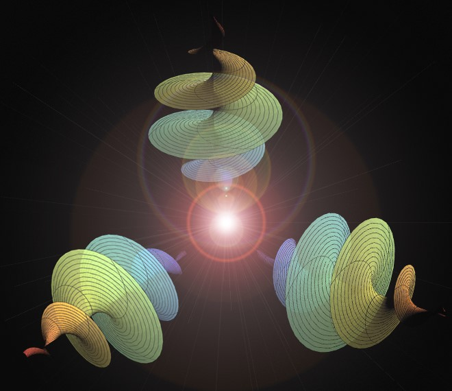 Artist's depiction of the twisted-photon entangled state created in the Vienna experiment