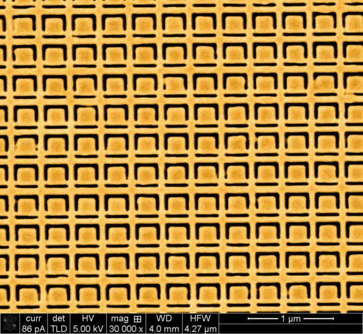This gold metamaterial nanostructure is a nanoscale version of the structure described by the University of Southampton researchers