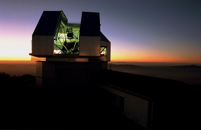 The WIYN telescope building at sunset