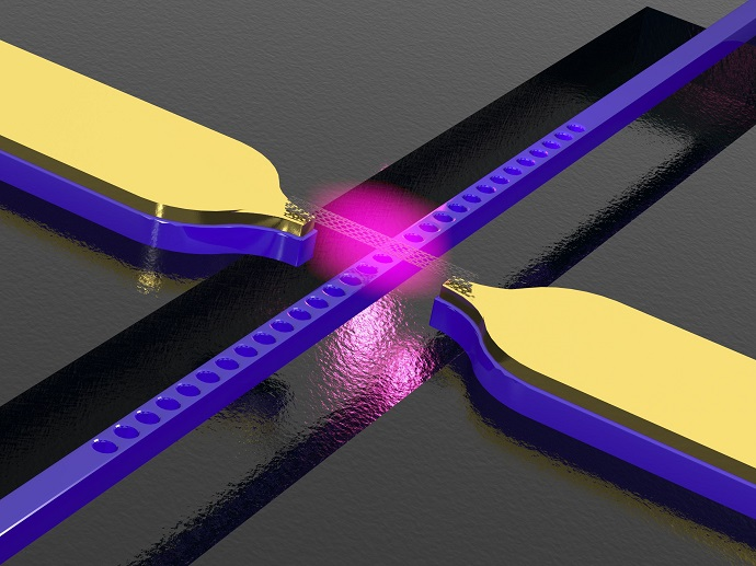 Carbon nanotube above a photonic crystal waveguide with electrodes. The structure converts electric signals into light