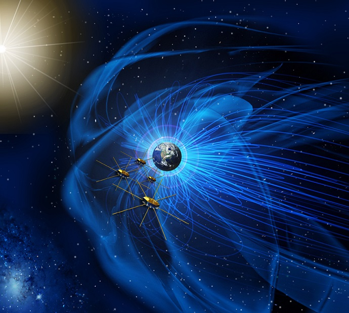 This artist's rendition shows the four identical MMS spacecraft flying near the sun-facing boundary of Earth's magnetic field