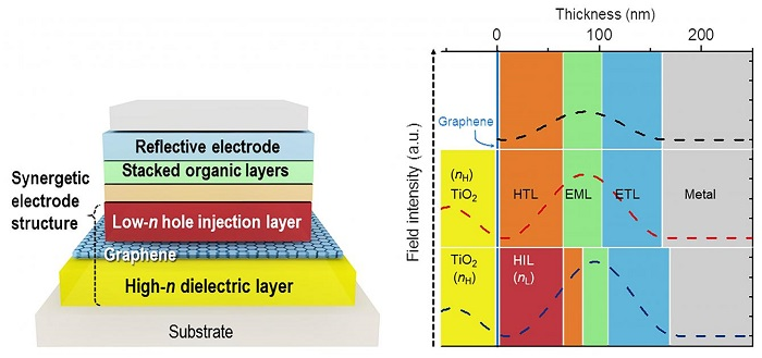 Schematic Device Structure of Graphene-based OLEDs