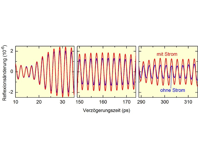 Changes of the sample reflectivity as a function of the delay time after the pump pulse