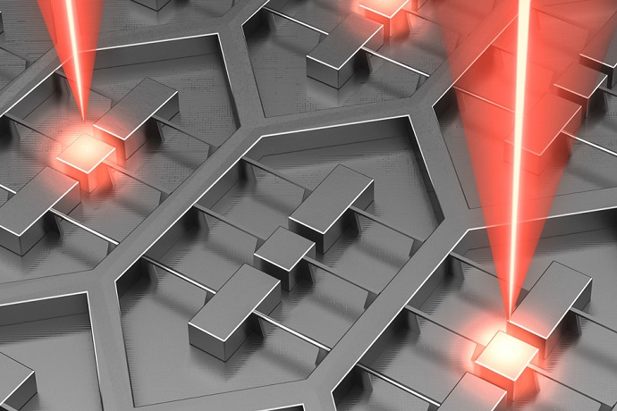Researchers at MIT and Sandia National Laboratories have designed a device that is an array of 37 microfabricated lasers on a single chip