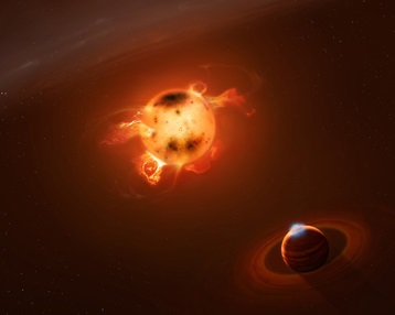 Artist's impression of a young giant planet in the immediate vicinity of a star in formation.