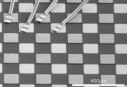 Scanning electron microscope image of several quantum cascade detector pixels of a test setup