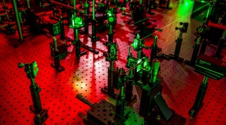 This experimental laser ultrasonic setup in collaborator Nick Boechler's lab will create phonons with nature-defying characteristics