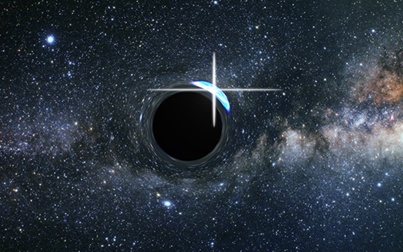 Artist's impression of a flare from a star partly behind a black hole