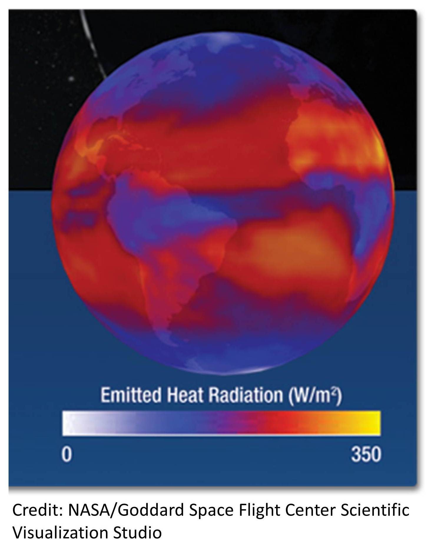 An image from NASA that illustrates the amount of terrestrial heat dissipated by Earth into the outer space