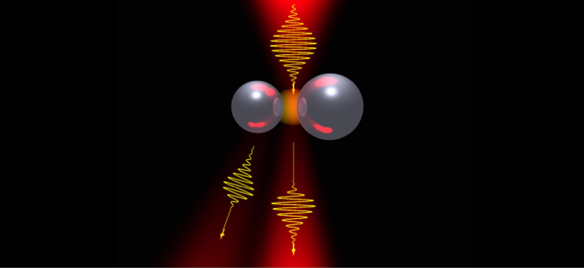 An artist's rendering of nonlinear light scattering by a dimer of two silicon particles with a variable radiation pattern