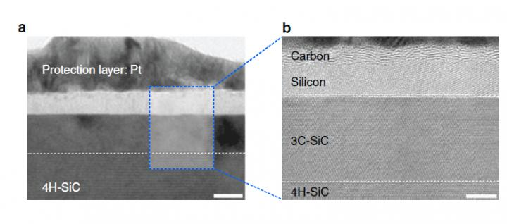 Silicon Carbide Separated into a Carbon and a Silicon Layer after One Pulse