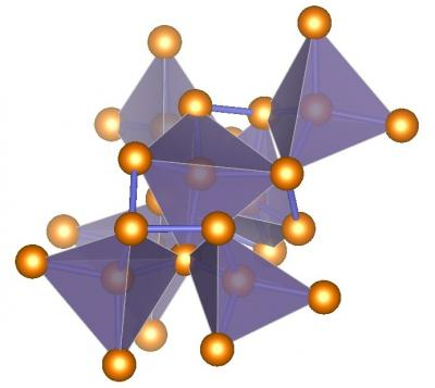 Illustration of ST12-germanium's complex tetragonal structure with tetrahedral bonding