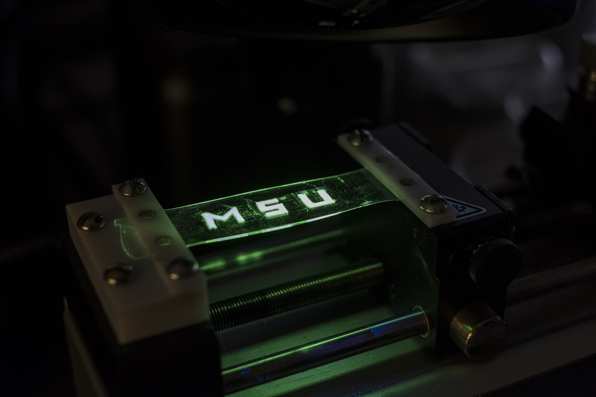 MSU engineer Chuan Wang and colleagues have created a stretchable light-emitting material that is produced entirely on an inkjet printer