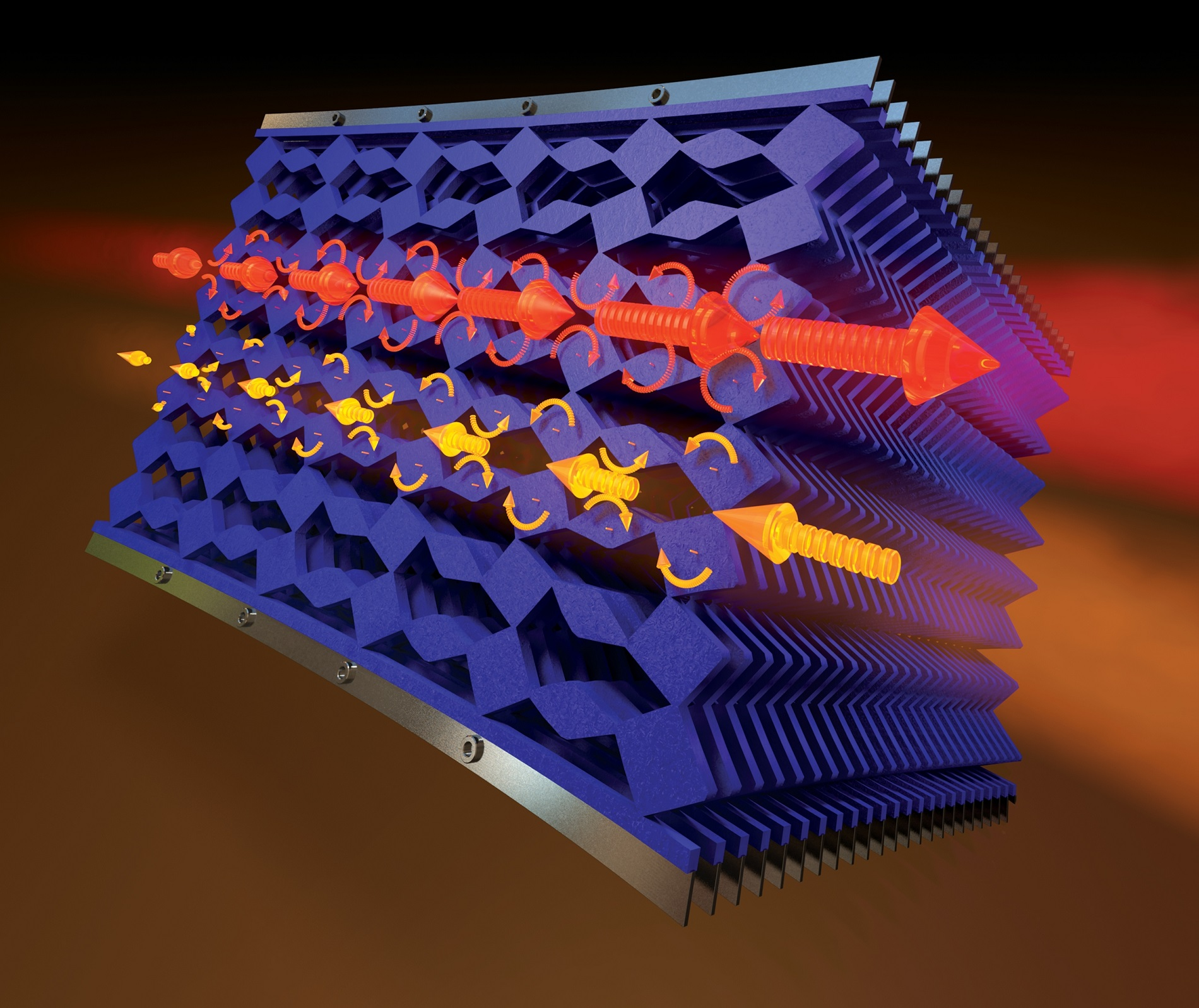 This is an artist's rendering of mechanical metamaterials