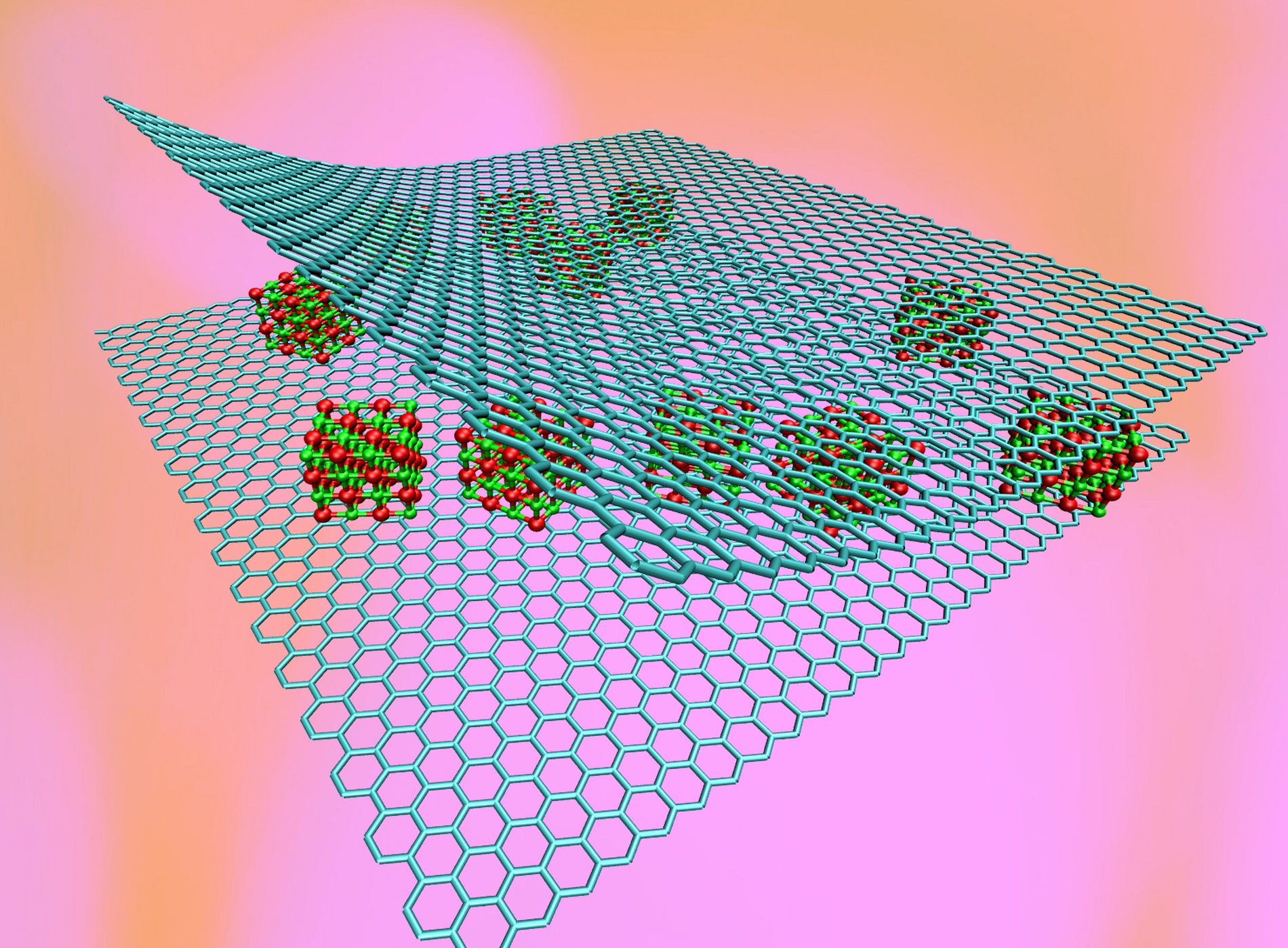 Nanoclusters of magnesium oxide sandwiched between layers of graphene