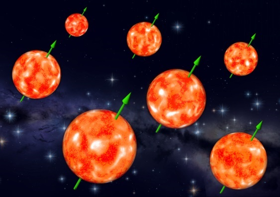 The spins of about 70% of the red giant stars observed in the clusters were strongly aligned in a study by researchers including Dr Dennis Stello.