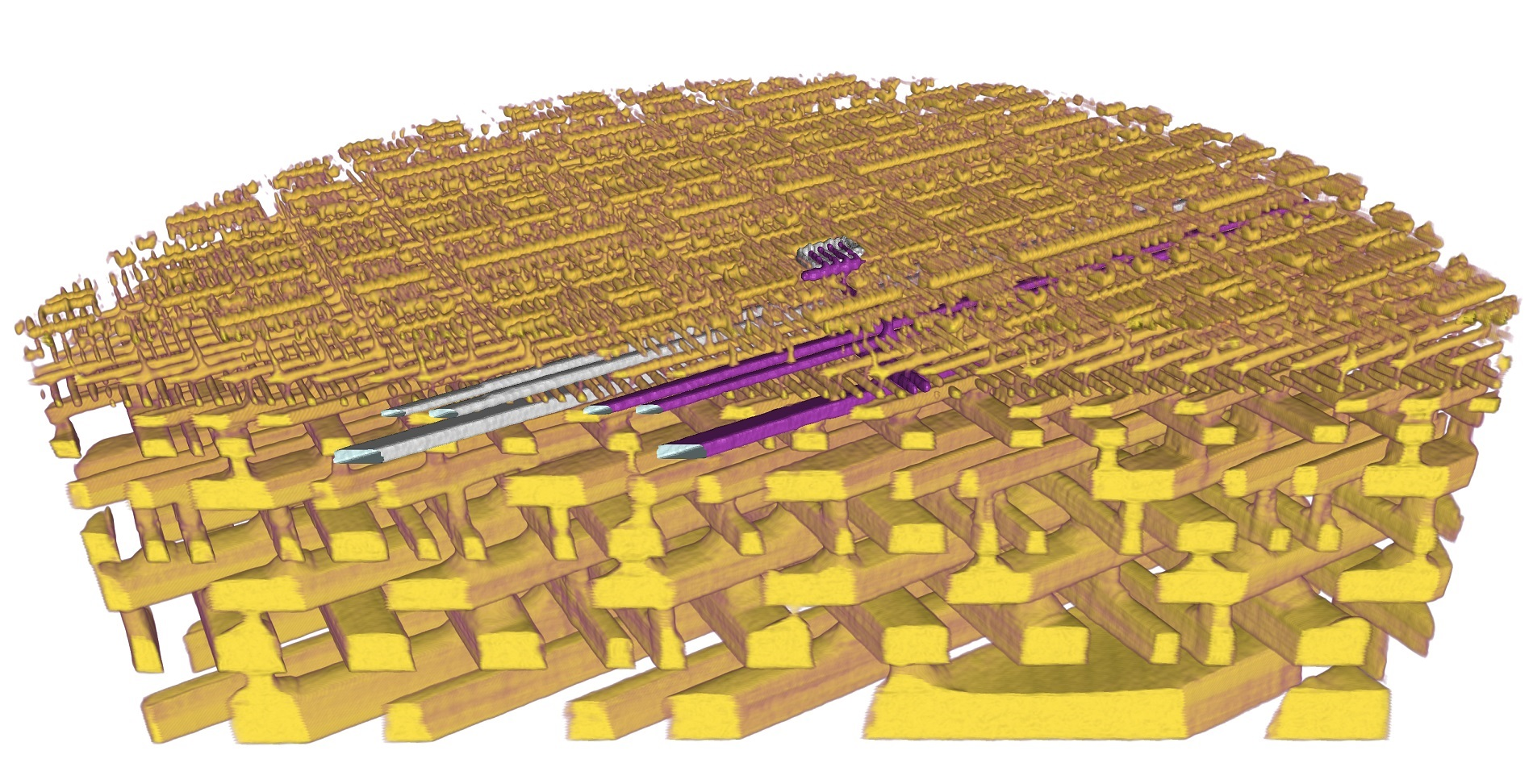 3-D representation of the internal structure of a microchip