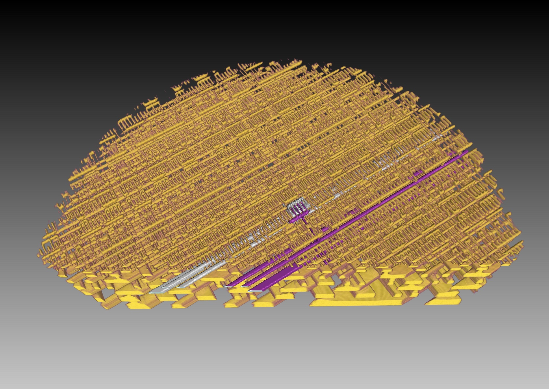 A second 3-D representation of the internal structure of a microchip